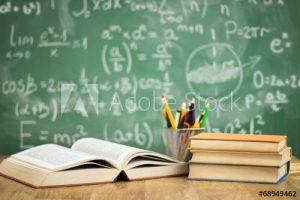 papan tulis, angka, buku, bolpoin, pensil