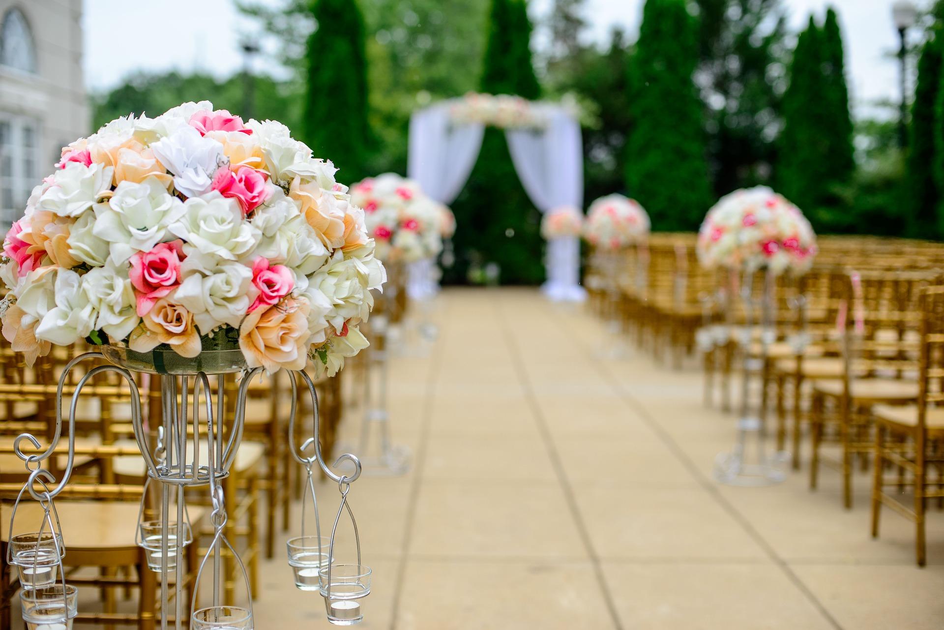 bunga, pernikahan, kursi, langit, tirai, pohon