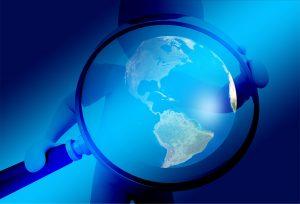 kaca pembesar, bola dunia, penelitian