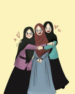 gambar kartun muslimah, gambar anime muslimah, muslimah art, gambar persahabatan muslimah