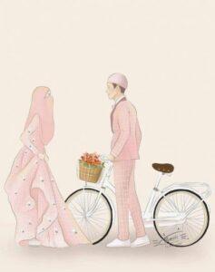 wedding of muslimah, kartun muslimah wedding, kartun muslimah berpasangan, muslimah art, kartun muslimah cantik, kartun muslimah berniqob
