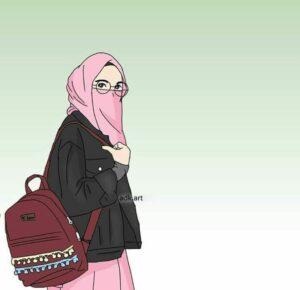 gambar kartun muslimah, gambar kartun muslimah berkacamata, anime muslimah