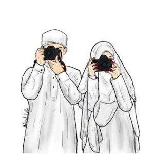 wedding of muslimah, kartun muslimah wedding, kartun muslimah, kartun muslimah romantik bikin baper berpasangan, muslimah art, kartun muslimah cantik, kartun muslimah berniqob